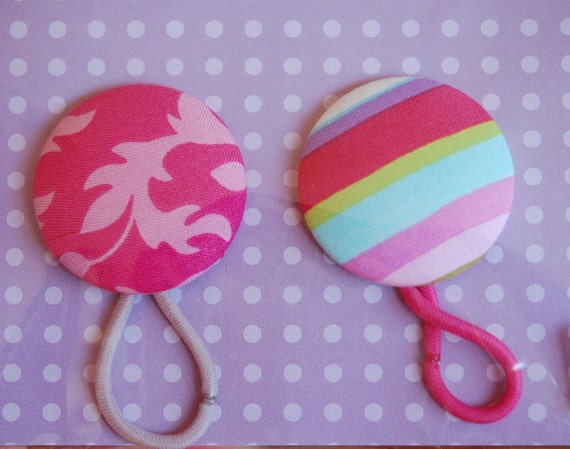 Ponytail Holders, Fabric, Hair Elastics. Stripe, Floral, 2 Inch, Set of 2 Designer Fabrics, Pinks