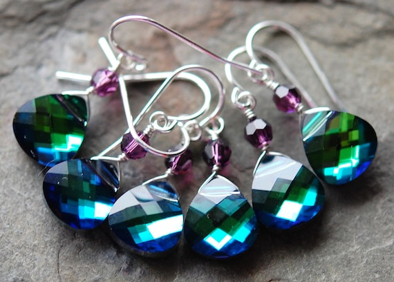 Peacock Bridesmaid Earrings, Blue Green Swarovski Crystal, Choose your Accent Color, Sterling Silver Wire Wrapped