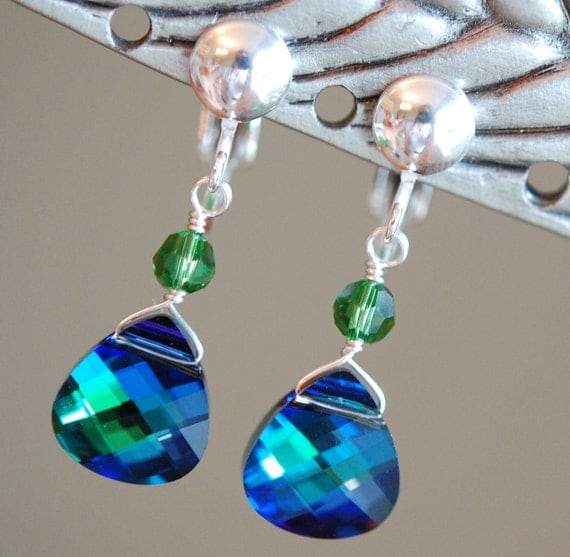 Peacock Bridesmaid Clip On Earrings, Blue Green Swarovski Crystal, Choose your Accent Color, Sterling Silver Wire Wrapped