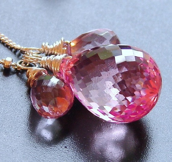 Large Pink Topaz Necklace, Sterling Silver, Happily Ever After Necklace, AAA Gemstone Briolette Wire Wrapped