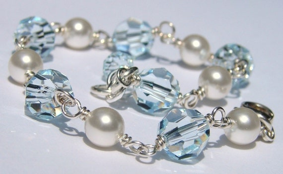 Handmade Crystal Pearl Bracelet, Sterling Silver, Aqua Swarovski, White Pearls, Design Your Own, Bridal, Bridesmaids, Bella