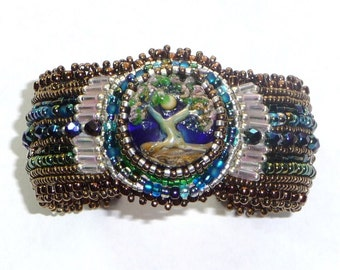 Beaded Cuff Bracelet Bead Embroidery Lampwork Tree Crystals  (cb961)