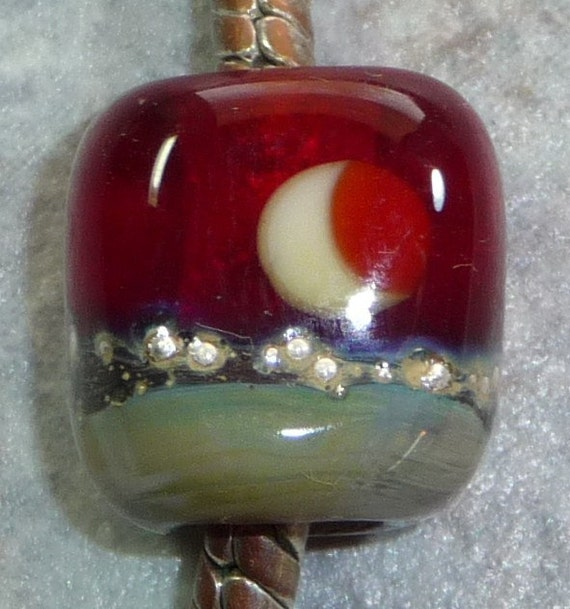 Red Lampwork Bead, European Charm,  Silvered RED ECLIPSE (P0987)