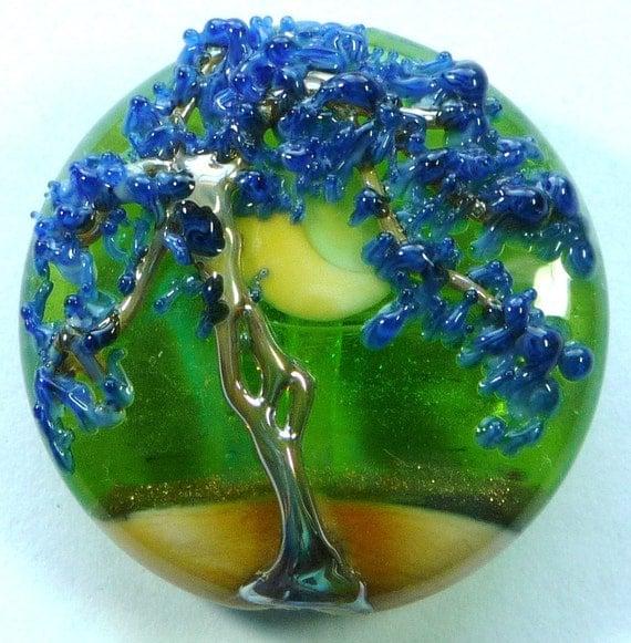 Lampwork  Tree Bead, Large Spree Lentil Focal (LF1392) THRU The LOOKING Glass