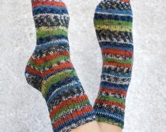 Hand-knit Women's 7-9 Ankle Socks, Rainforest