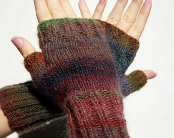 Hand-knit Fingerless Mittens with Thumb, Wildflowers, size small, ready to ship