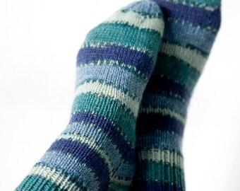 Cyan, Hand-knit W 7-9  Socks