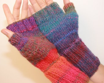 Fingerless Mittens with Thumb, Hand-knit, Women's , I Love the 80s, size small-med