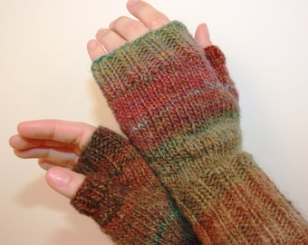Soft and Warm, Fingerless Mittens with Thumb, Hand-knit by Janie, Women's Small, Strawberry Fields