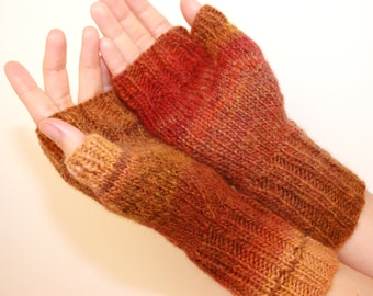 Red, Rust, and Brown, Hand-knit Fingerless Mittens with Thumb, Women's Sizes small, Sedona Sun