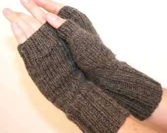 Wool Mittens, Grey Day, Fingerless Mittens with Thumb, Hand-knit by Janie, Unisex Small