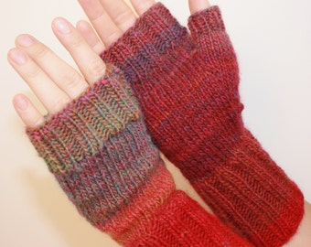 Fingerless Mittens with Thumb, Bold and Beautiful, Hand-knit by Janie, Women's Small ,Hawaii's Best, Ready to ship
