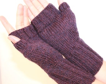Wool Mittens, Purple Passion, Fingerless Mittens with Thumb, Hand-knit by Janie, Women' Small size