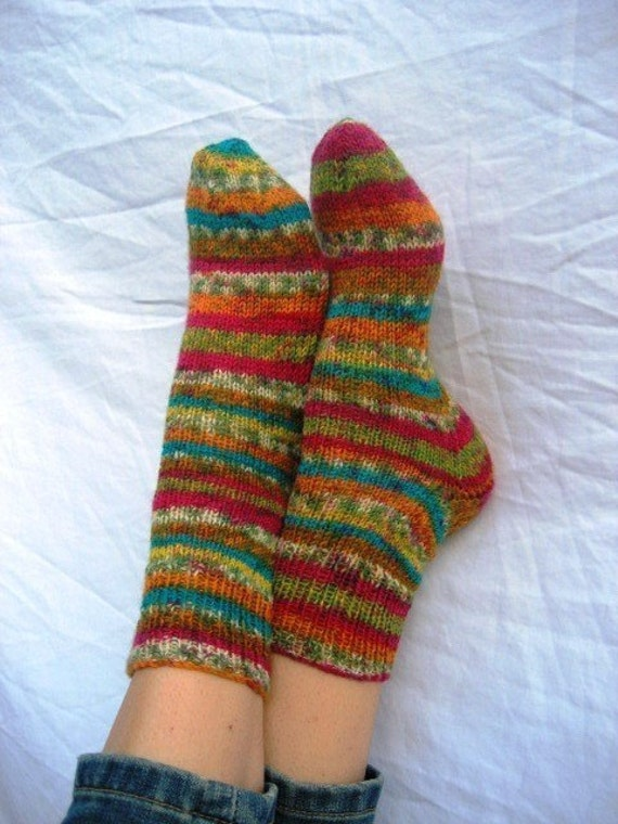 Hand-knit  Socks, size 8-10 Razzle-Dazzle  Cutest Colors