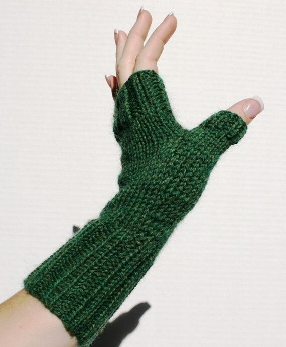 Hand-knit Fingerless Mittens with Thumb, Pine, small size