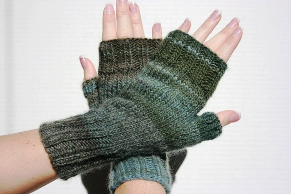 Hand-knit grey/blue/green Fingerless Mittens with Thumb, Frozen Lake, size small