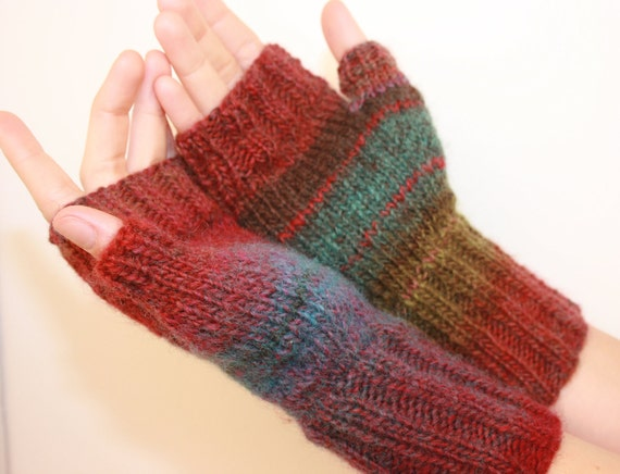 Bold Colors, Fingerless Mittens with Thumb, Hand-knit by Janie, Women's Small,Teal, Garnet and Sage