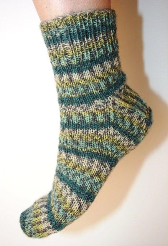 Women's 7-9 Ankle Socks Hand-knit by Janie Bull, Stormy Seas