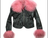 Pink Fur and Black Leather Bardot Style Ski Jacket with Matching Hat -Size 2