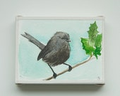 Little Grey Bird, small original painting