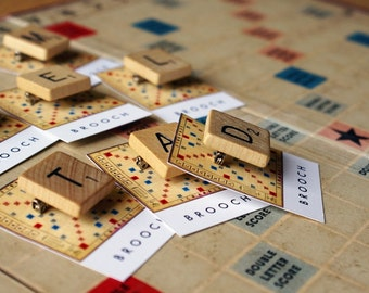 Vintage wooden Scrabble tile brooch