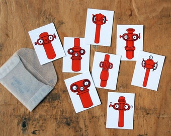 Red Robot stickers, set of 8