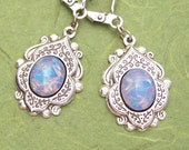 RESERVED for eobaba- Indian Ice- Harlequin Glass Opal and Antiqued Silver Earrings