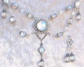 Crystal Ball- Victorian Style Antiqued Silver Necklace and Earrings