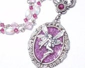 RESERVED- Pink Faerie- Glitter, Antiqued Silver Fantasy Necklace