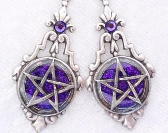Purple Pentacles- Glitter and Resin Earrings (E-052)