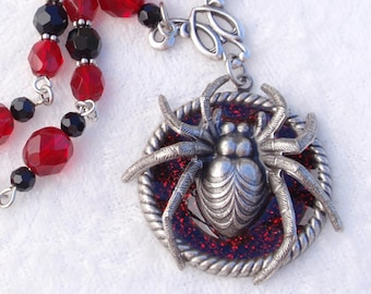 Spider Necklace- Antiqued silver goth style