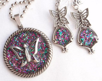 Butterflies in Bloom- Glitter, Resin, Antiqued Silver Pendant and Earrings