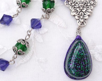 Mardi Gras- Glitter and Resin Antiqued Silver Necklace