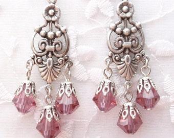 Light Amethyst Chandeliers- Antiqued Silver Victorian Style Earrings