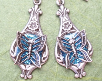 Butterfly Earrings- Glitter and Antiqued Silver (E-070)