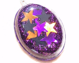 CLEARANCE- Starry Halloween Night- Glitter and Resin Pendant