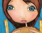 RESERVED Cheeseburger Girl Original Painting (On Sale)