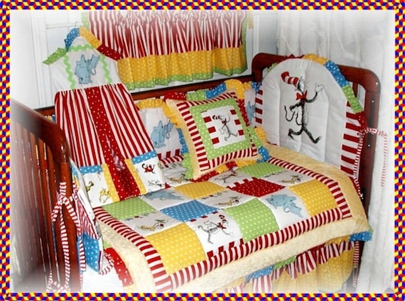 dr seuss cat in the hat fabric crib bedding set last one