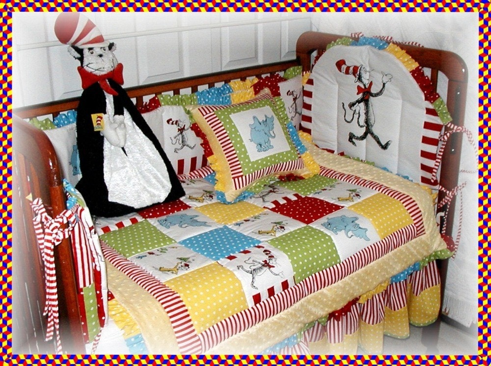 Dr seuss cat in the hat fabric crib bedding set with horton for Bedding fabric bedding