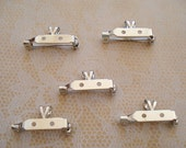 20 Pin Backs with Bails, Nickel Silver, 1""