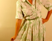 Green Floral Print House Dress
