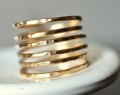 THICK BAND Simplicity (open band) Adjustable textured 14K wire wrap ring - custom sized