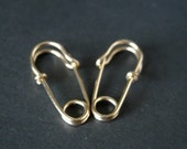 Safety Pin Earrings - mini 0.75 inch - 14k gold filled - small hoop earrings - punk jewelry, fun earrings