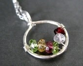Grandmother necklace / Mothers family birthstone necklace CIRCLE OF LOVE, sterling silver, Genuine Gemstones 6 stones - customized