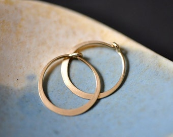 ULTRA MINI 11mm 7/16 inch solid 14K gold  hoop earrings -- just around the lobe.perfect for sensitive piercings and children