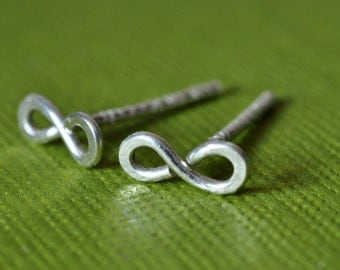 Tiny Teeny Infinity Posts sterling silver wire stud earrings
