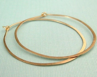 LARGE and skinny 1.5 inch 14K gold filled forged hoop earrings