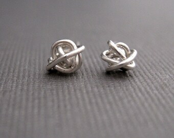 Tiny Teeny Tornado Posts sterling silver wire stud earrings