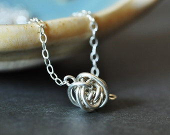 Tiny Teeny Tornado necklace  ( sterling silver wire ball )
