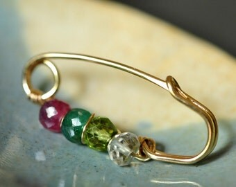 Mothers pin / Grandmothers pin - Family Birthstone Safety Pin Brooch, genuine gemstones ( 3 to 8 stones) - customized - gift for mom